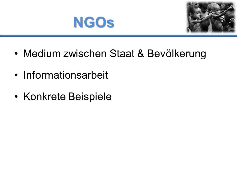NGOs Medium zwischen Staat & Bevölkerung Informationsarbeit Konkrete Beispiele