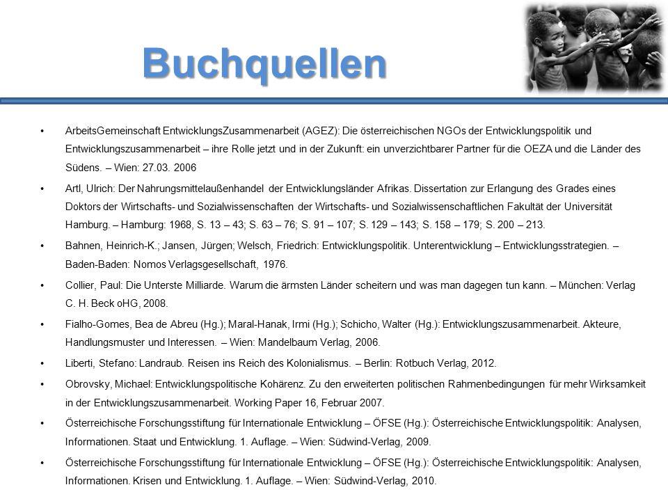 Buchquellen ArbeitsGemeinschaft EntwicklungsZusammenarbeit (AGEZ): Die österreichischen NGOs der Entwicklungspolitik und Entwicklungszusammenarbeit –