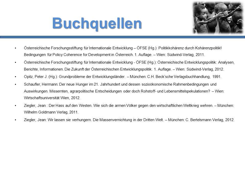 Buchquellen Österreichische Forschungsstiftung für Internationale Entwicklung – ÖFSE (Hg.): Politikkohärenz durch Kohärenzpolitik! Bedingungen für Pol