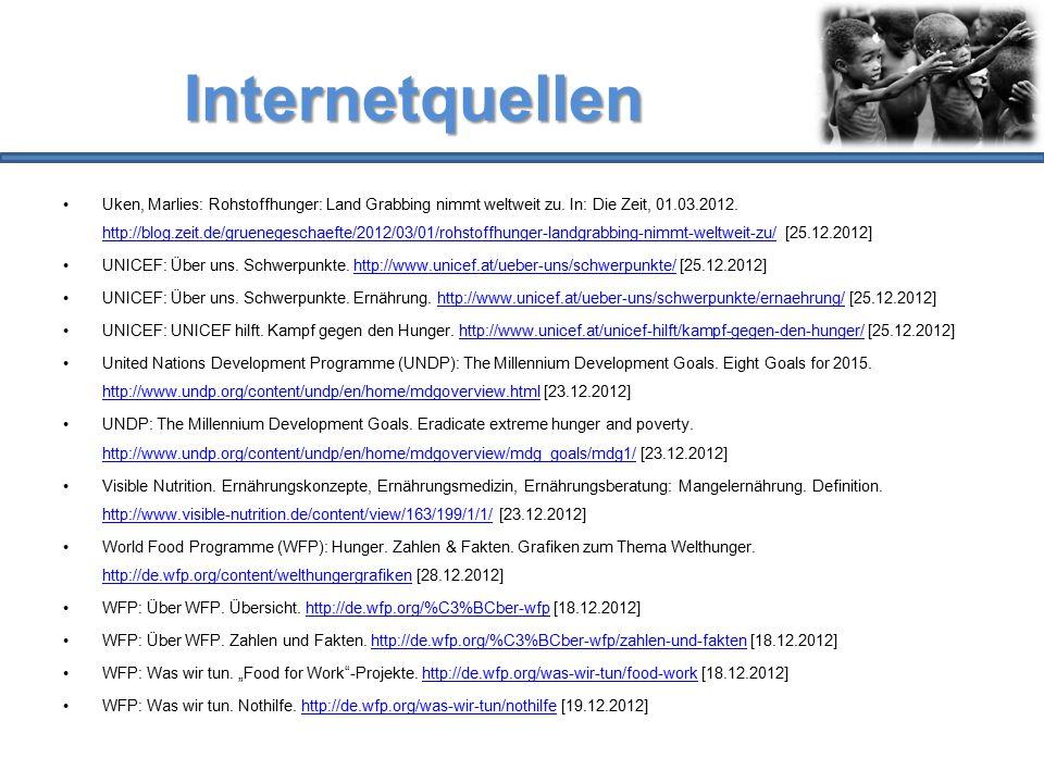 Internetquellen Uken, Marlies: Rohstoffhunger: Land Grabbing nimmt weltweit zu. In: Die Zeit, 01.03.2012. http://blog.zeit.de/gruenegeschaefte/2012/03