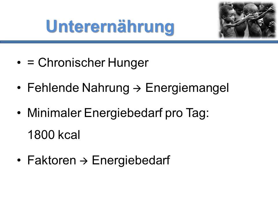Unterernährung = Chronischer Hunger Fehlende Nahrung  Energiemangel Minimaler Energiebedarf pro Tag: 1800 kcal Faktoren  Energiebedarf