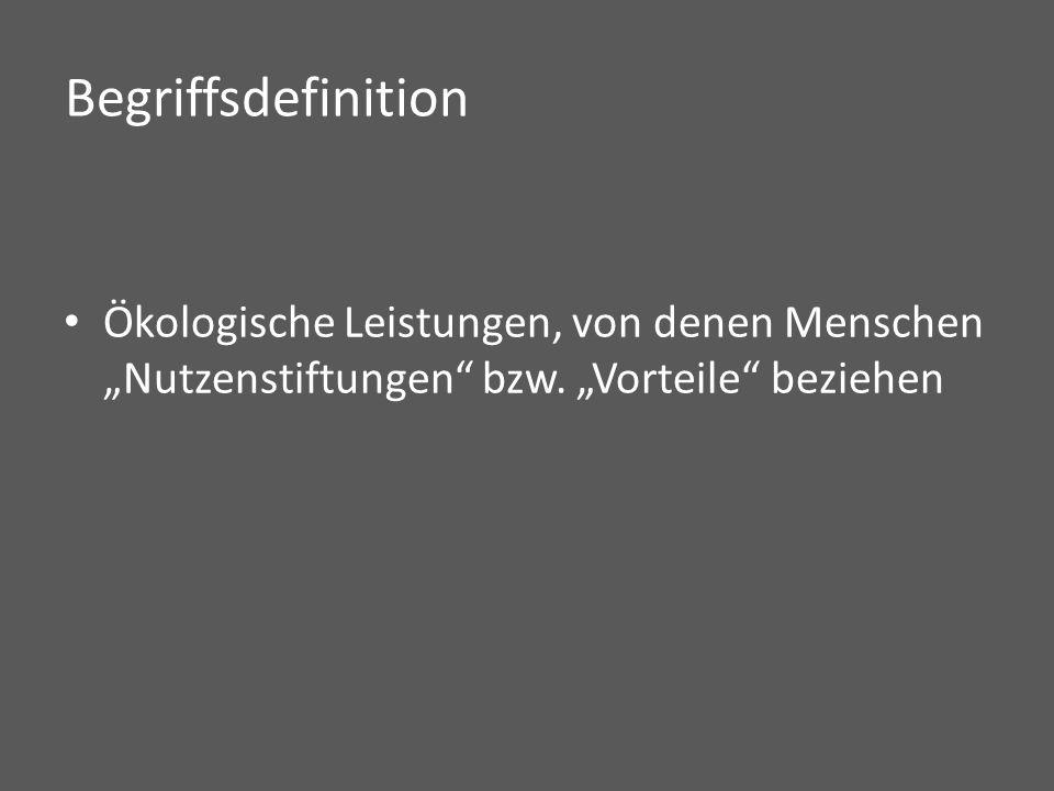 """Begriffsdefinition Ökologische Leistungen, von denen Menschen """"Nutzenstiftungen bzw."""
