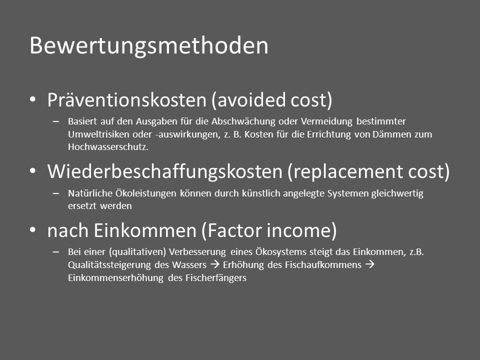 Bewertungsmethoden Präventionskosten (avoided cost) – Basiert auf den Ausgaben für die Abschwächung oder Vermeidung bestimmter Umweltrisiken oder -auswirkungen, z.