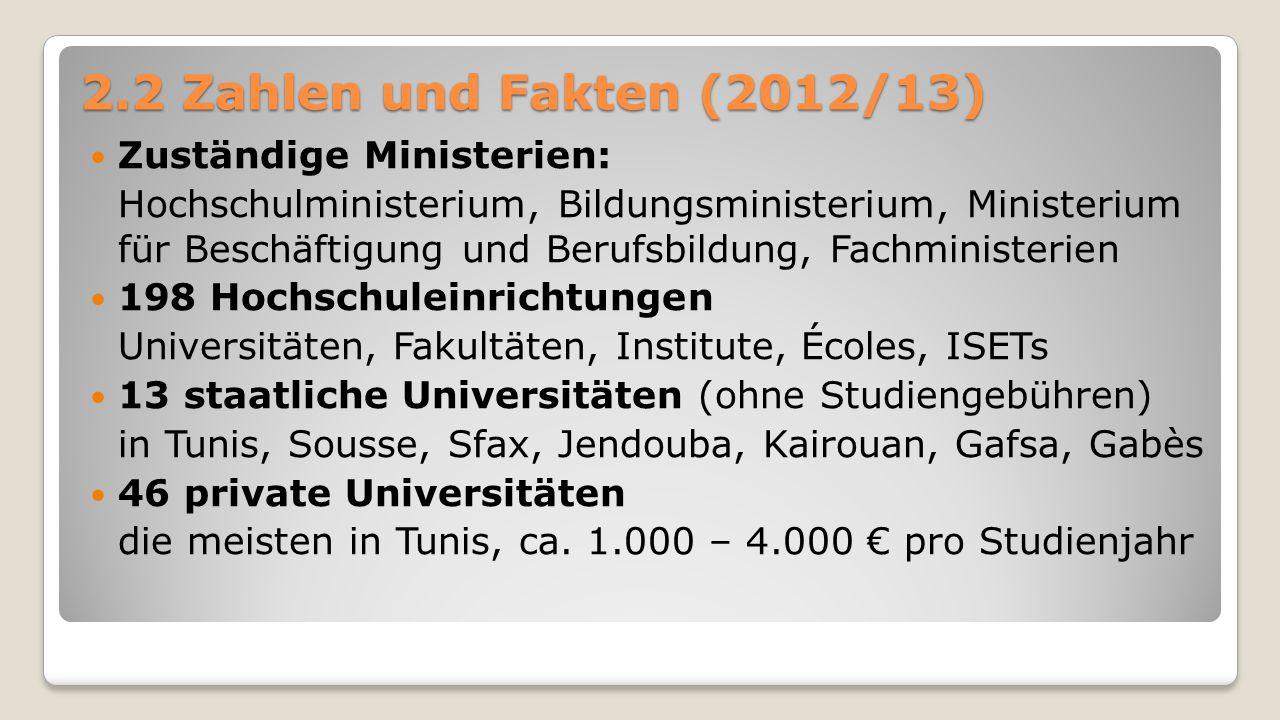 2.2 Zahlen und Fakten (2012/13) Zuständige Ministerien: Hochschulministerium, Bildungsministerium, Ministerium für Beschäftigung und Berufsbildung, Fa