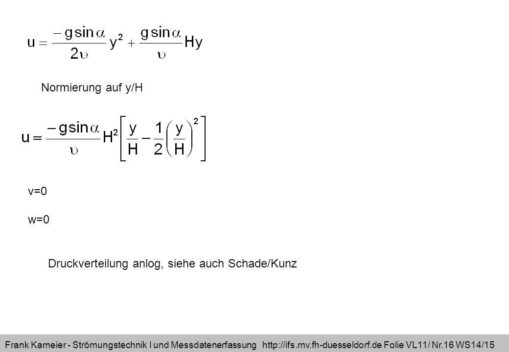 Frank Kameier - Strömungstechnik I und Messdatenerfassung http://ifs.mv.fh-duesseldorf.de Folie VL11/ Nr.16 WS14/15 Normierung auf y/H v=0 w=0 Druckverteilung anlog, siehe auch Schade/Kunz