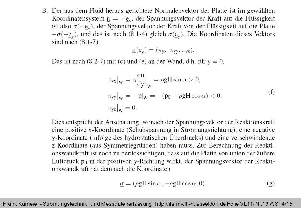 Frank Kameier - Strömungstechnik I und Messdatenerfassung http://ifs.mv.fh-duesseldorf.de Folie VL11/ Nr.19 WS14/15