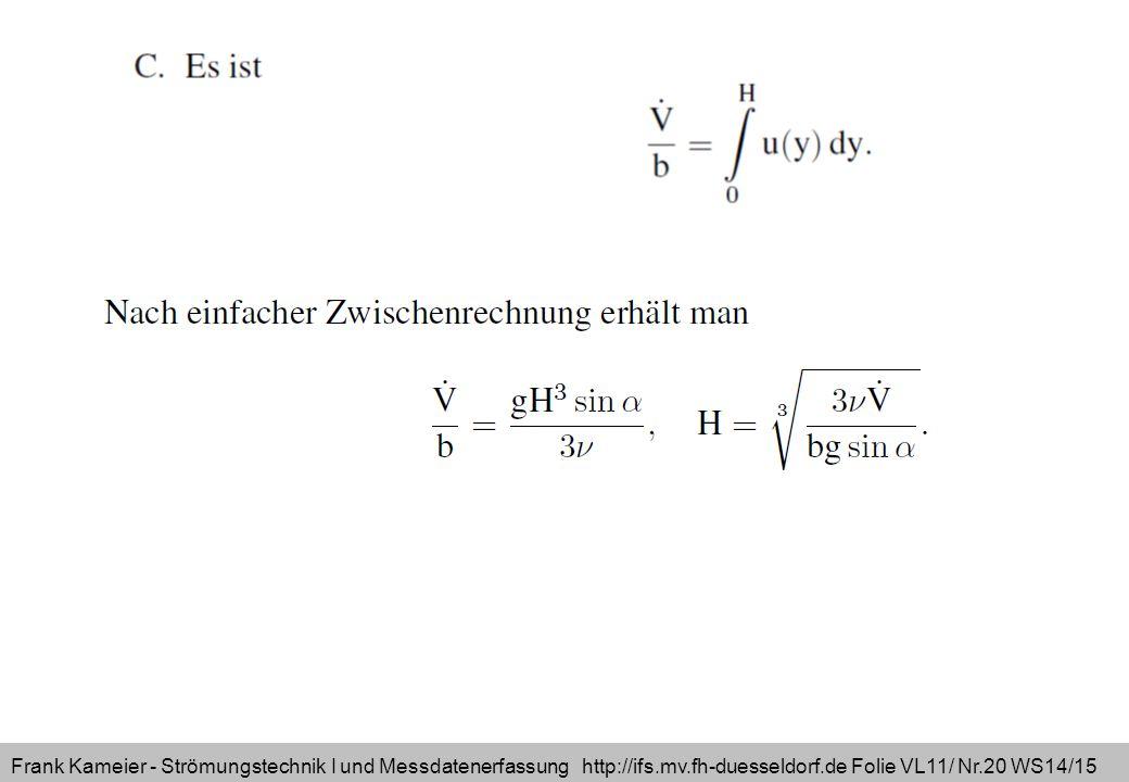 Frank Kameier - Strömungstechnik I und Messdatenerfassung http://ifs.mv.fh-duesseldorf.de Folie VL11/ Nr.20 WS14/15