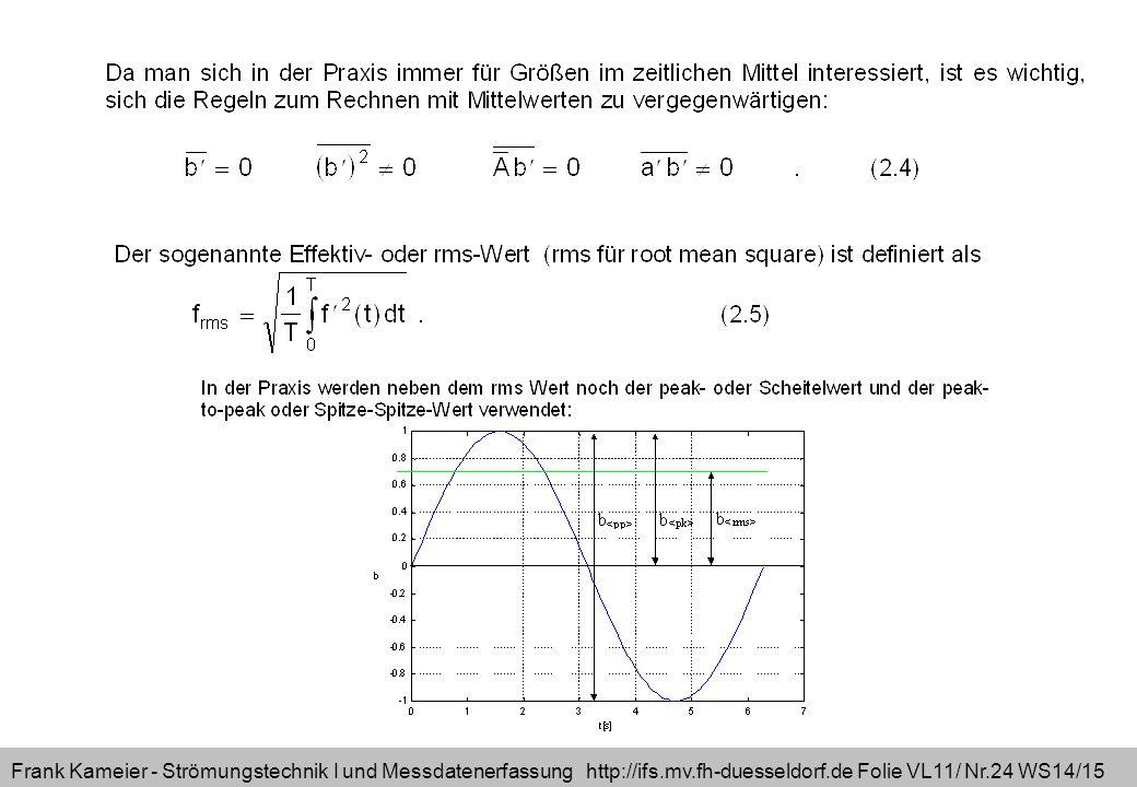 Frank Kameier - Strömungstechnik I und Messdatenerfassung http://ifs.mv.fh-duesseldorf.de Folie VL11/ Nr.24 WS14/15