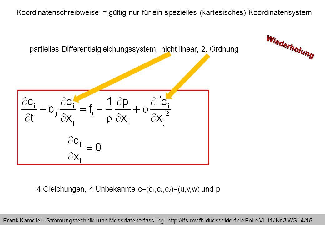 Frank Kameier - Strömungstechnik I und Messdatenerfassung http://ifs.mv.fh-duesseldorf.de Folie VL11/ Nr.3 WS14/15 4 Gleichungen, 4 Unbekannte c=(c 1,c 2,c 3 )=(u,v,w) und p partielles Differentialgleichungssystem, nicht linear, 2.