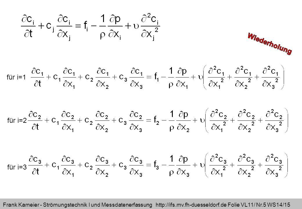 Frank Kameier - Strömungstechnik I und Messdatenerfassung http://ifs.mv.fh-duesseldorf.de Folie VL11/ Nr.5 WS14/15 für i=1 für i=2 für i=3