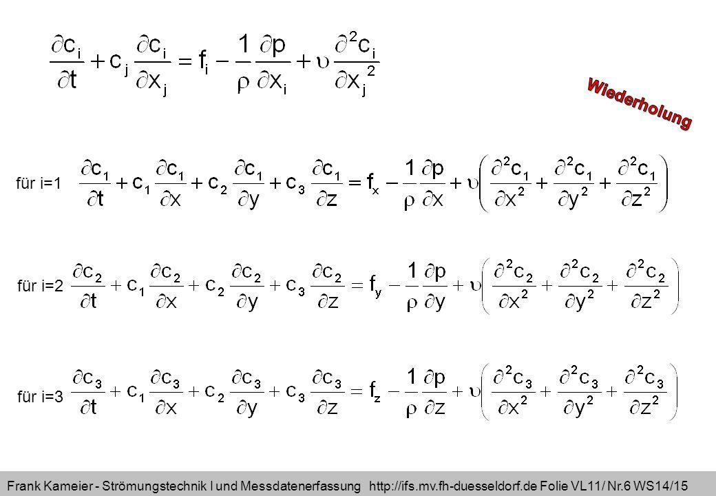 Frank Kameier - Strömungstechnik I und Messdatenerfassung http://ifs.mv.fh-duesseldorf.de Folie VL11/ Nr.6 WS14/15 für i=1 für i=2 für i=3