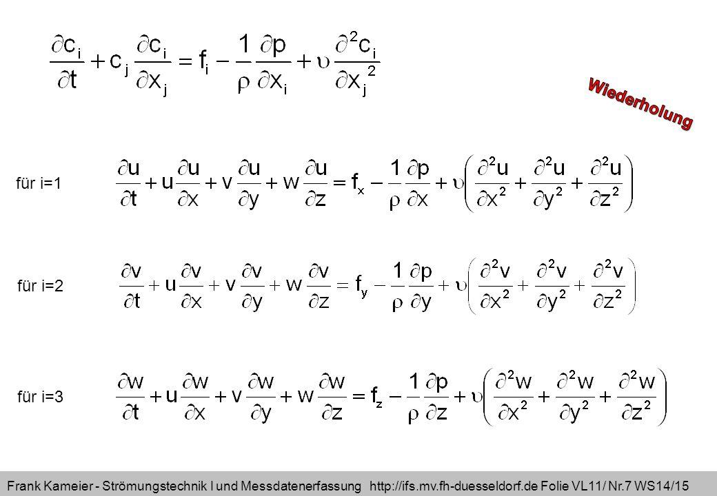 Frank Kameier - Strömungstechnik I und Messdatenerfassung http://ifs.mv.fh-duesseldorf.de Folie VL11/ Nr.7 WS14/15 für i=1 für i=2 für i=3