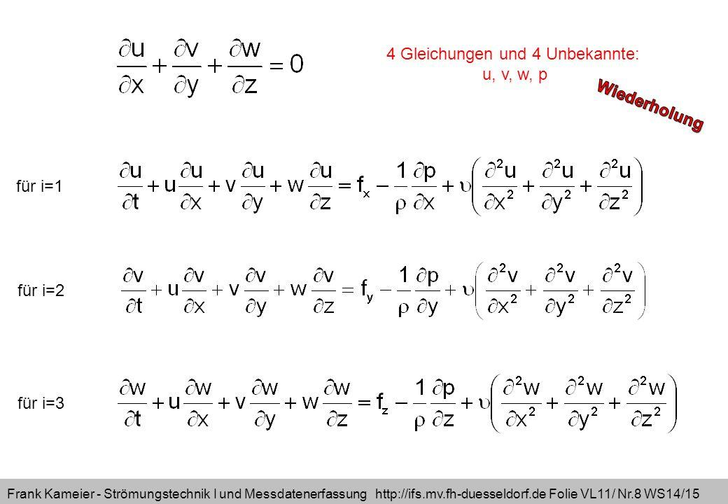 Frank Kameier - Strömungstechnik I und Messdatenerfassung http://ifs.mv.fh-duesseldorf.de Folie VL11/ Nr.8 WS14/15 für i=1 für i=2 für i=3 4 Gleichungen und 4 Unbekannte: u, v, w, p