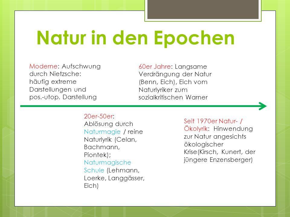 Natur in den Epochen Moderne: Aufschwung durch Nietzsche: häufig extreme Darstellungen und pos.-utop.
