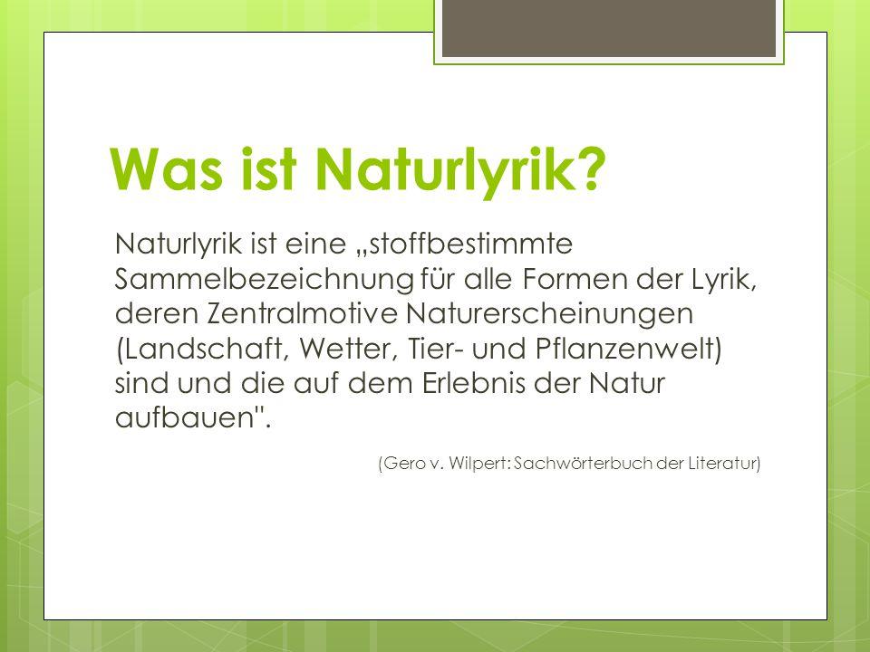 Was ist Naturlyrik.
