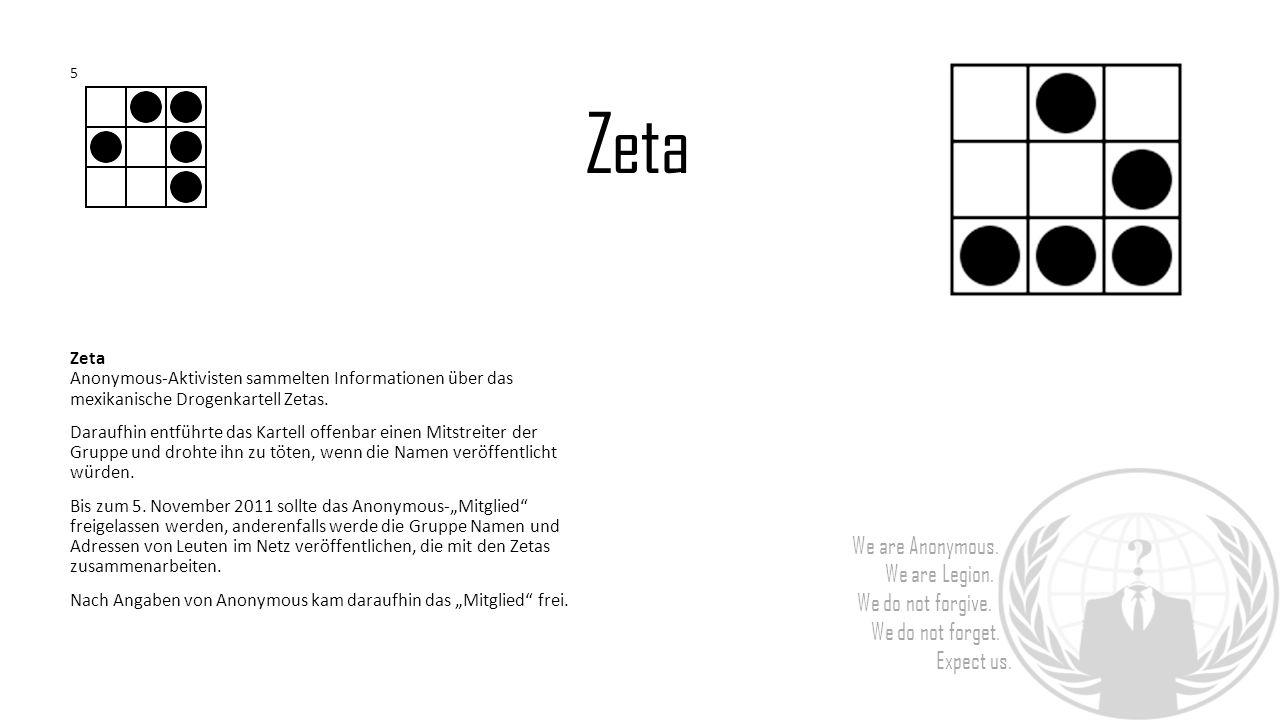 Zeta Anonymous-Aktivisten sammelten Informationen über das mexikanische Drogenkartell Zetas. Daraufhin entführte das Kartell offenbar einen Mitstreite