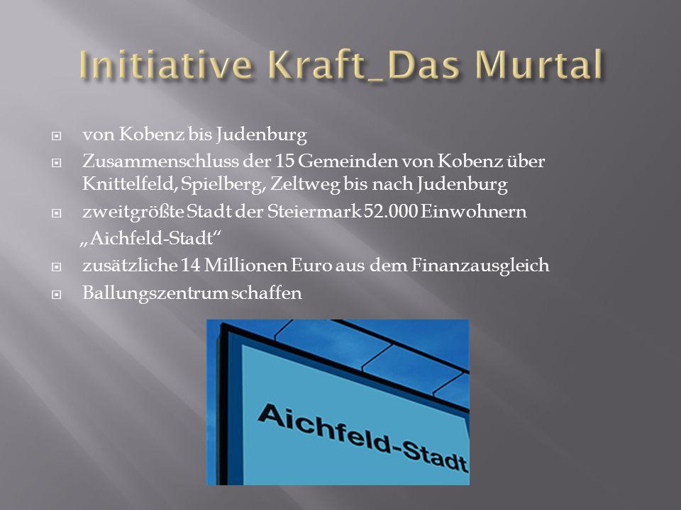  von Kobenz bis Judenburg  Zusammenschluss der 15 Gemeinden von Kobenz über Knittelfeld, Spielberg, Zeltweg bis nach Judenburg  zweitgrößte Stadt d
