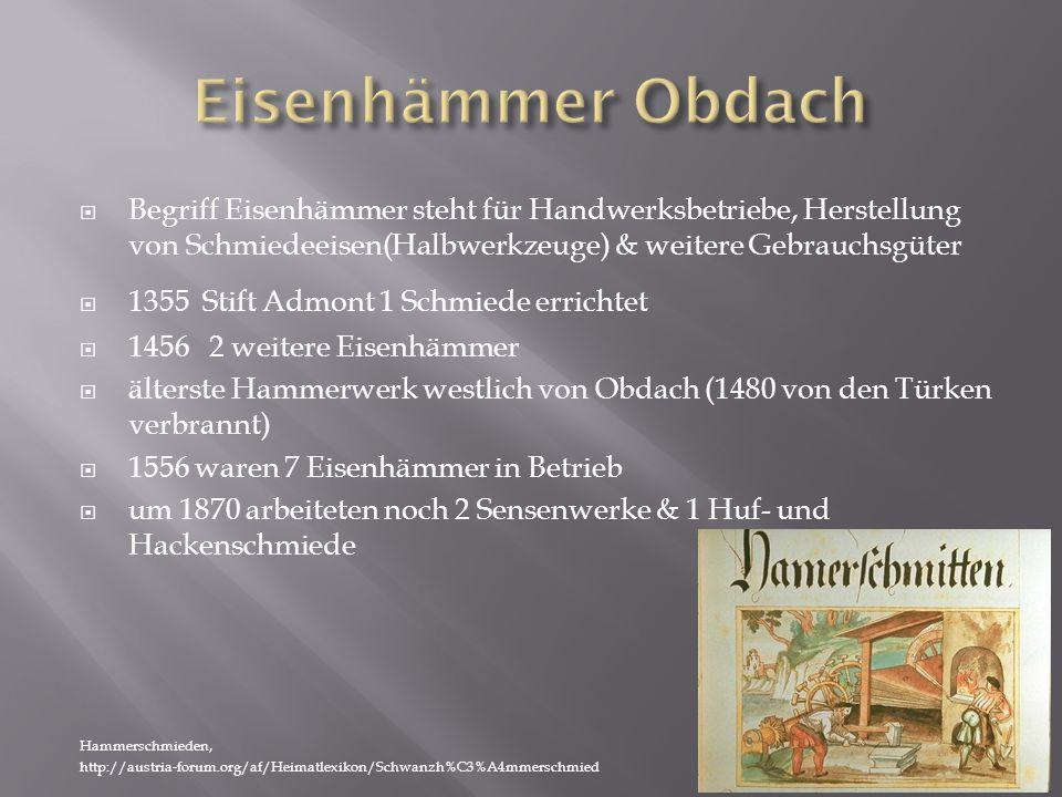  Begriff Eisenhämmer steht für Handwerksbetriebe, Herstellung von Schmiedeeisen(Halbwerkzeuge) & weitere Gebrauchsgüter  1355 Stift Admont 1 Schmiede errichtet  1456 2 weitere Eisenhämmer  älterste Hammerwerk westlich von Obdach (1480 von den Türken verbrannt)  1556 waren 7 Eisenhämmer in Betrieb  um 1870 arbeiteten noch 2 Sensenwerke & 1 Huf- und Hackenschmiede Hammerschmieden, http://austria-forum.org/af/Heimatlexikon/Schwanzh%C3%A4mmerschmied