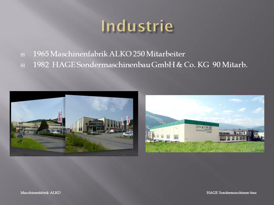  1965 Maschinenfabrik ALKO 250 Mitarbeiter  1982 HAGE Sondermaschinenbau GmbH & Co. KG 90 Mitarb. Maschinenfabrik ALKO HAGE Sondermaschinen-bau