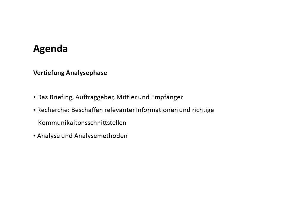 Agenda Vertiefung Analysephase Das Briefing, Auftraggeber, Mittler und Empfänger Recherche: Beschaffen relevanter Informationen und richtige Kommunika