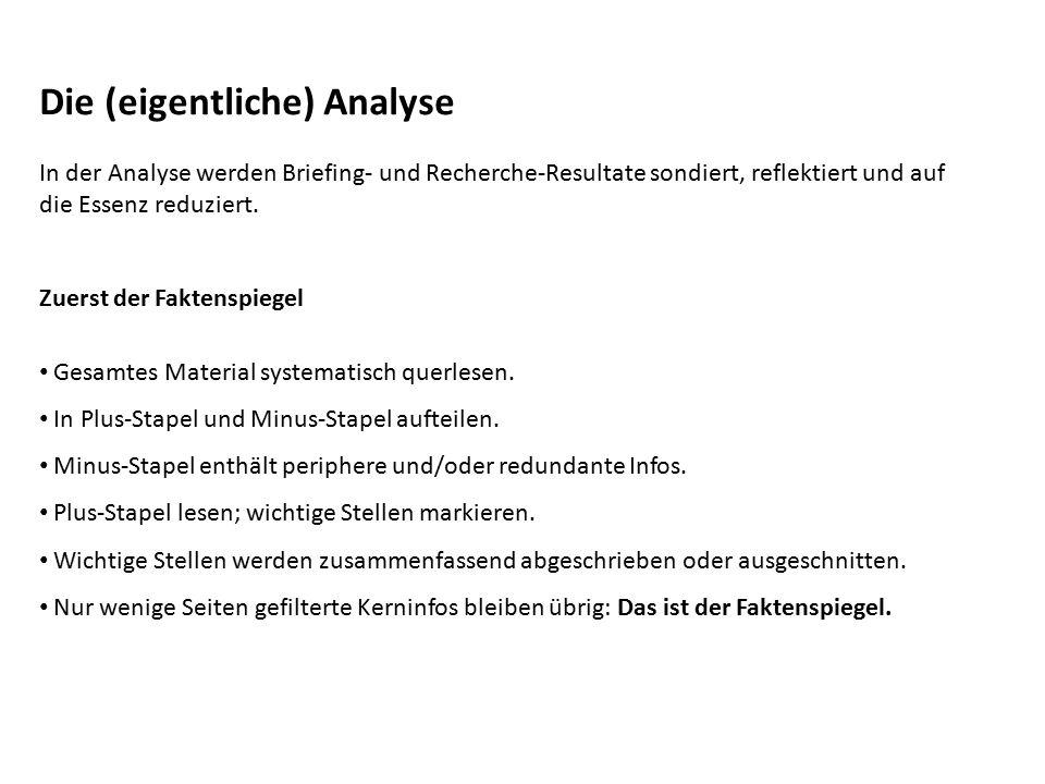 Die (eigentliche) Analyse In der Analyse werden Briefing- und Recherche-Resultate sondiert, reflektiert und auf die Essenz reduziert. Zuerst der Fakte
