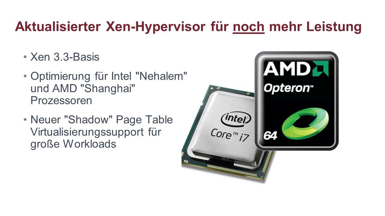 Aktualisierter Xen-Hypervisor für noch mehr Leistung Xen 3.3-Basis Optimierung für Intel