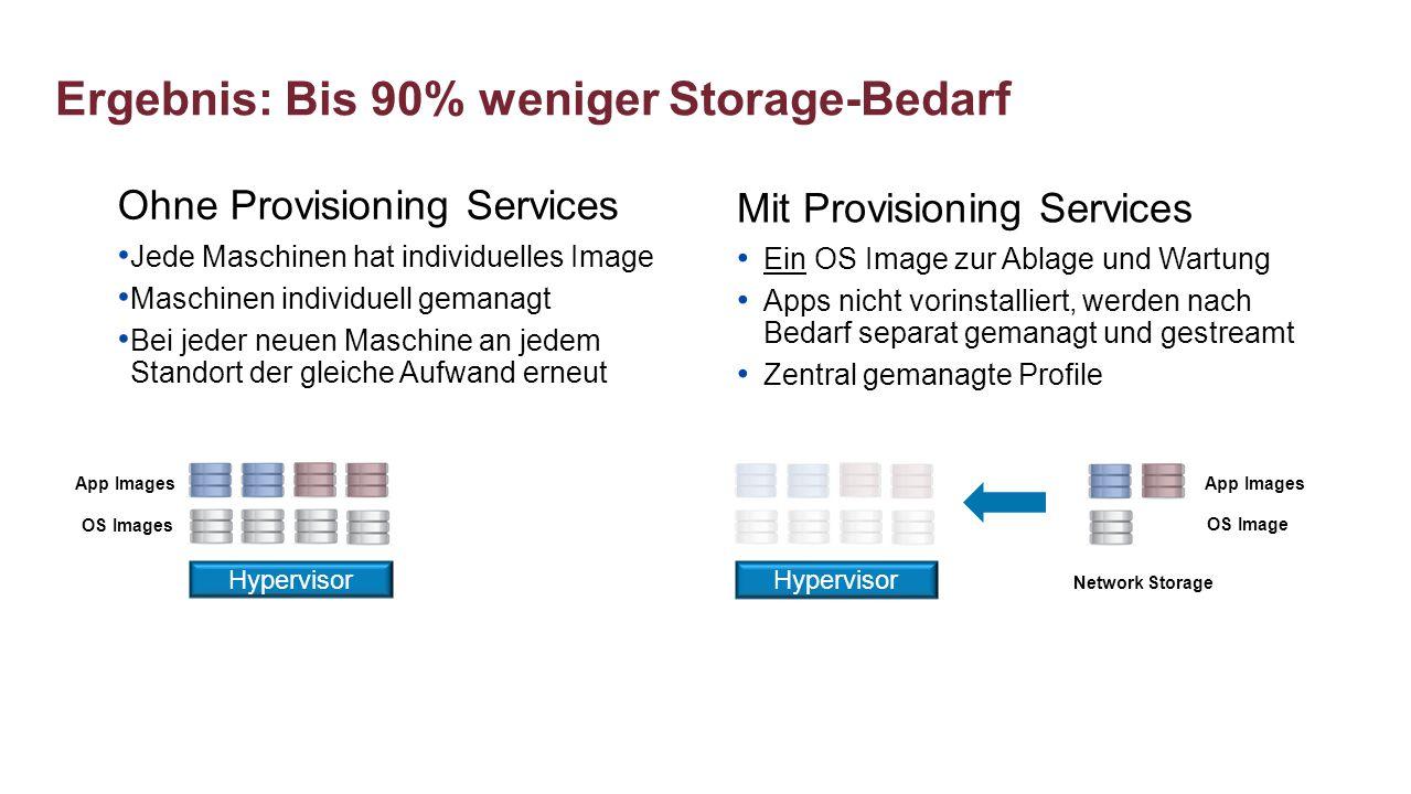 Ergebnis: Bis 90% weniger Storage-Bedarf Ohne Provisioning Services Jede Maschinen hat individuelles Image Maschinen individuell gemanagt Bei jeder ne