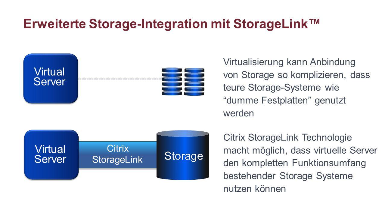 """Erweiterte Storage-Integration mit StorageLink™ Virtualisierung kann Anbindung von Storage so komplizieren, dass teure Storage-Systeme wie """"dumme Fest"""