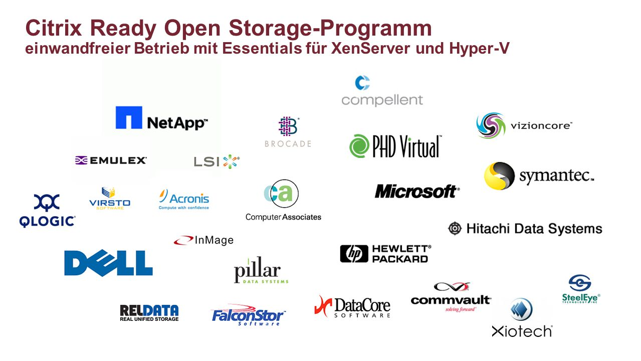 Citrix Ready Open Storage-Programm einwandfreier Betrieb mit Essentials für XenServer und Hyper-V