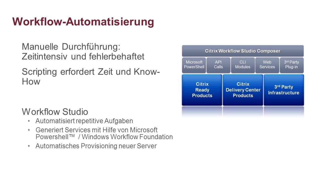 Manuelle Durchführung: Zeitintensiv und fehlerbehaftet Scripting erfordert Zeit und Know- How Workflow Studio Automatisiert repetitive Aufgaben Generi