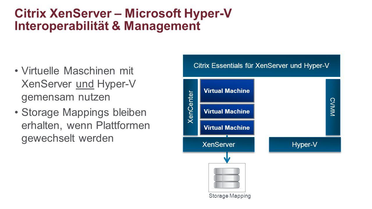 Virtuelle Maschinen mit XenServer und Hyper-V gemensam nutzen Storage Mappings bleiben erhalten, wenn Plattformen gewechselt werden Citrix XenServer –