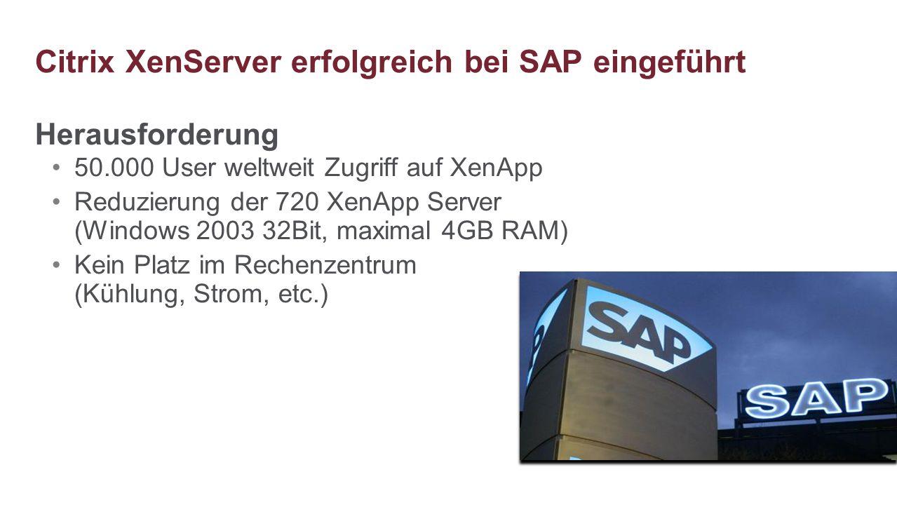 Herausforderung 50.000 User weltweit Zugriff auf XenApp Reduzierung der 720 XenApp Server (Windows 2003 32Bit, maximal 4GB RAM) Kein Platz im Rechenze