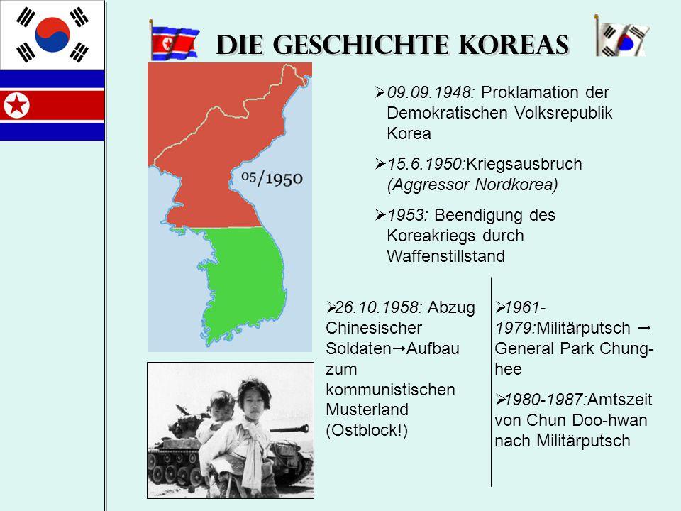 Die Geschichte Koreas  1957-1962: Stärkung der Herrschaft Kim Il- sungs  08.07.1994:Tod von Kim Il Sung  Kim Jong-il  1988-1992: Amtszeit von General Roh Tae-woo nach Wahlen  25.02.1993: Amtseinführung des frei gewählten Staatspräsidenten Kim Young-Sam