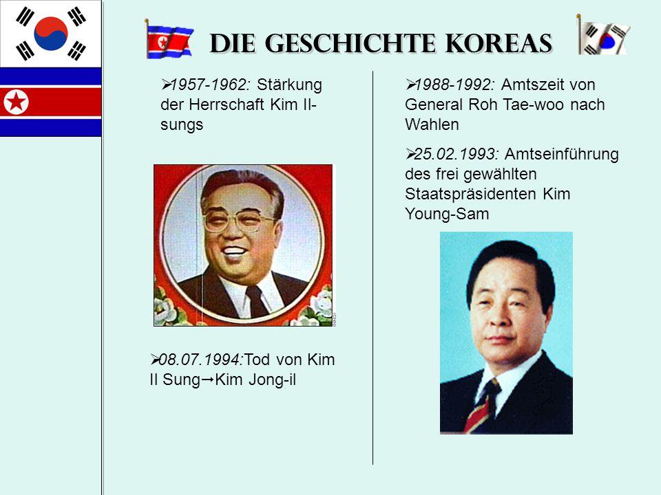 Die Geschichte Koreas  1957-1962: Stärkung der Herrschaft Kim Il- sungs  08.07.1994:Tod von Kim Il Sung  Kim Jong-il  1988-1992: Amtszeit von Gene
