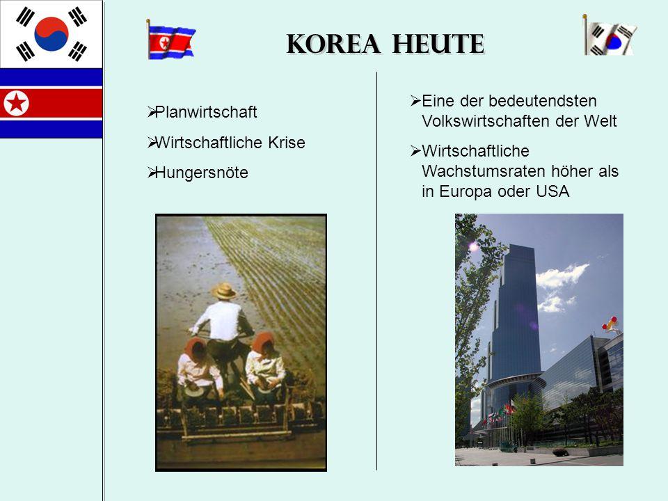 Korea Heute  Planwirtschaft  Wirtschaftliche Krise  Hungersnöte  Eine der bedeutendsten Volkswirtschaften der Welt  Wirtschaftliche Wachstumsrate