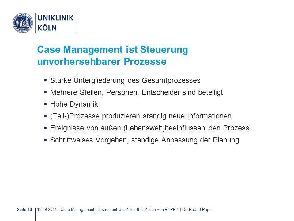18.09.2014 | Case Management - Instrument der Zukunft in Zeiten von PEPP? | Dr. Rudolf PapeSeite 10 Case Management ist Steuerung unvorhersehbarer Pro