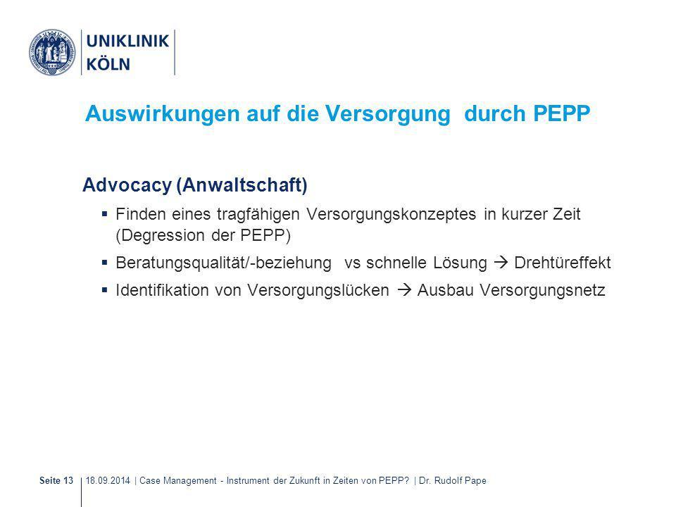 18.09.2014 | Case Management - Instrument der Zukunft in Zeiten von PEPP? | Dr. Rudolf PapeSeite 13 Auswirkungen auf die Versorgung durch PEPP Advocac