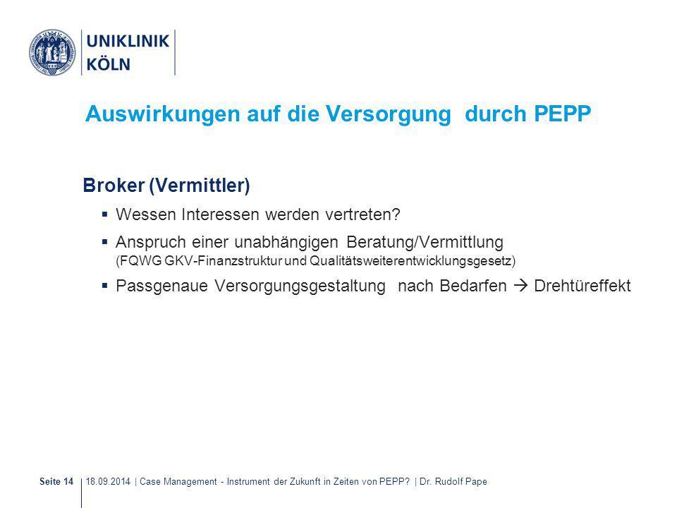 18.09.2014 | Case Management - Instrument der Zukunft in Zeiten von PEPP? | Dr. Rudolf PapeSeite 14 Auswirkungen auf die Versorgung durch PEPP Broker