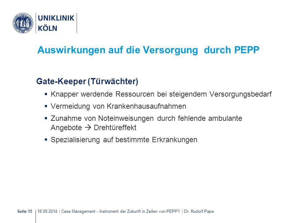 18.09.2014 | Case Management - Instrument der Zukunft in Zeiten von PEPP? | Dr. Rudolf PapeSeite 15 Auswirkungen auf die Versorgung durch PEPP Gate-Ke