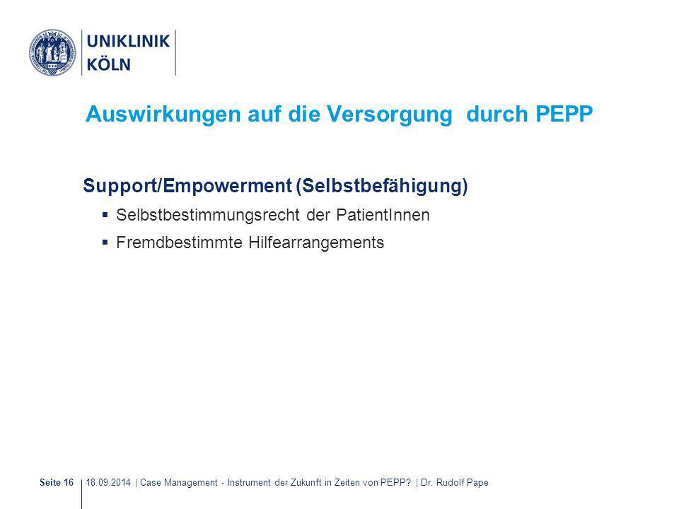 18.09.2014 | Case Management - Instrument der Zukunft in Zeiten von PEPP? | Dr. Rudolf PapeSeite 16 Auswirkungen auf die Versorgung durch PEPP Support