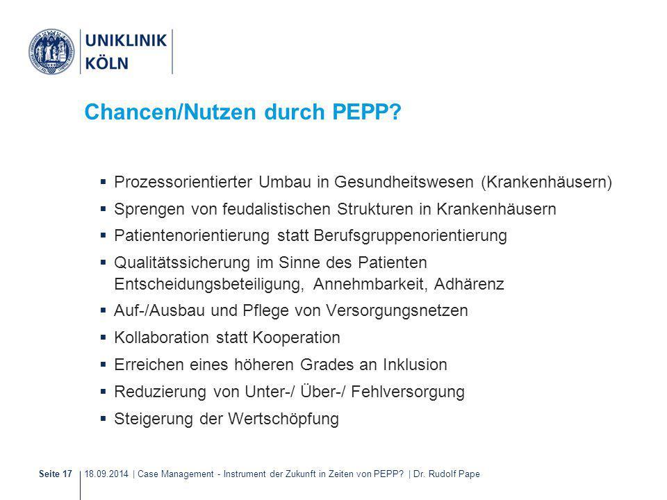 18.09.2014 | Case Management - Instrument der Zukunft in Zeiten von PEPP? | Dr. Rudolf PapeSeite 17 Chancen/Nutzen durch PEPP?  Prozessorientierter U