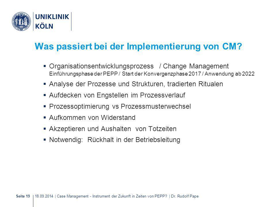 18.09.2014 | Case Management - Instrument der Zukunft in Zeiten von PEPP? | Dr. Rudolf PapeSeite 19 Was passiert bei der Implementierung von CM?  Org