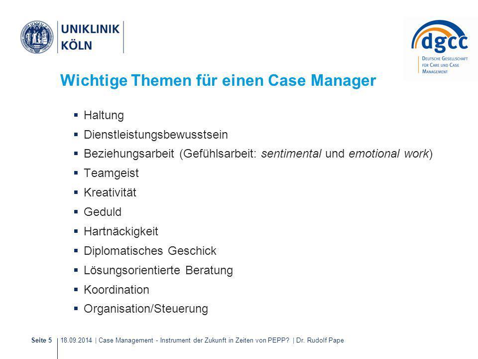 18.09.2014 | Case Management - Instrument der Zukunft in Zeiten von PEPP? | Dr. Rudolf PapeSeite 5 Wichtige Themen für einen Case Manager  Haltung 