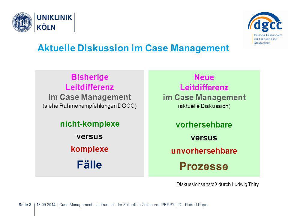 18.09.2014 | Case Management - Instrument der Zukunft in Zeiten von PEPP? | Dr. Rudolf PapeSeite 8 Aktuelle Diskussion im Case Management Neue Leitdif