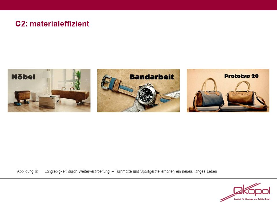 C2: materialeffizient Abbildung 6:Langlebigkeit durch Weiterverarbeitung – Turnmatte und Sportgeräte erhalten ein neues, langes Leben