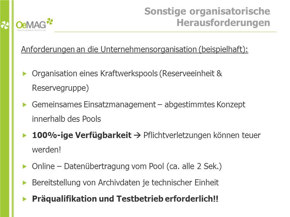 Sonstige organisatorische Herausforderungen Anforderungen an die Unternehmensorganisation (beispielhaft):  Organisation eines Kraftwerkspools (Reserveeinheit & Reservegruppe)  Gemeinsames Einsatzmanagement – abgestimmtes Konzept innerhalb des Pools  100%-ige Verfügbarkeit  Pflichtverletzungen können teuer werden.
