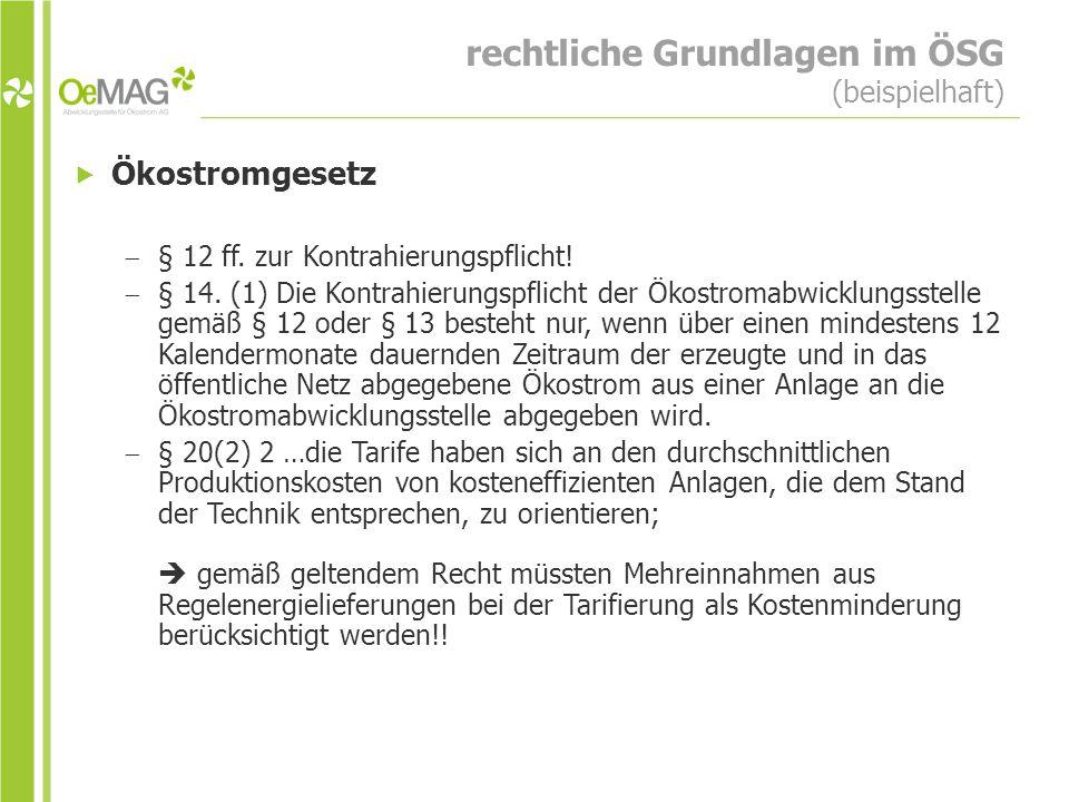rechtliche Grundlagen im ÖSG (beispielhaft)  Ökostromgesetz  § 12 ff.