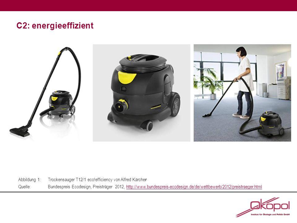 C2: energieeffizient Abbildung 1:Trockensauger T12/1 eco!efficiency von Alfred Kärche r Quelle:Bundespreis Ecodesign, Preisträger 2012, http://www.bundespreis-ecodesign.de/de/wettbewerb/2012/preistraeger.htmlhttp://www.bundespreis-ecodesign.de/de/wettbewerb/2012/preistraeger.html