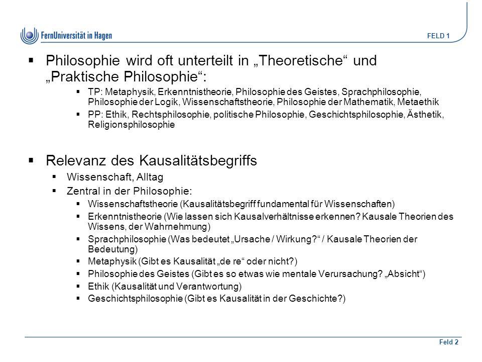 """FELD 1 Feld 2  Philosophie wird oft unterteilt in """"Theoretische"""" und """"Praktische Philosophie"""":  TP: Metaphysik, Erkenntnistheorie, Philosophie des G"""