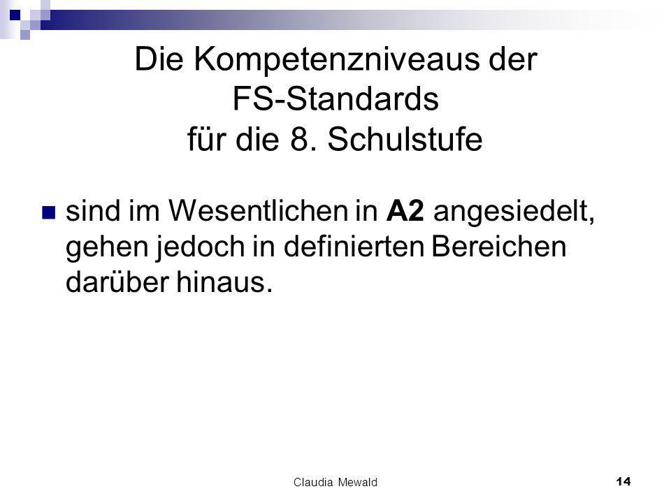 Claudia Mewald14 Die Kompetenzniveaus der FS-Standards für die 8.